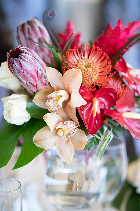 vibrant tropical color centerpieces