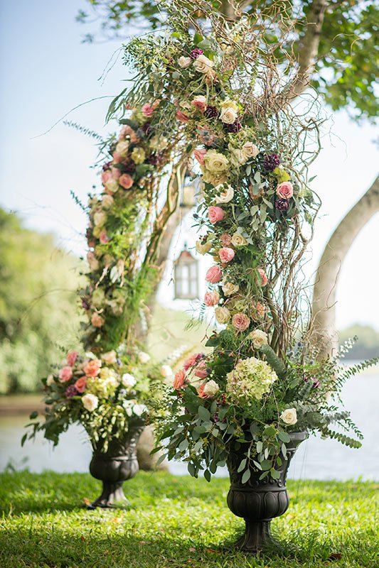 English garden inspired wedding arch