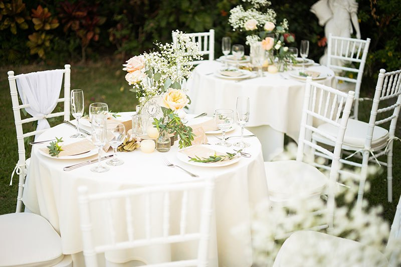 Classy garden wedding reception party